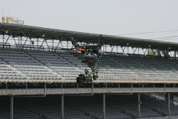 A robotic camera works the front straight during the Freedom 100