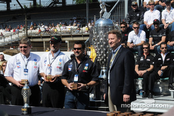 Owner's of AGR Kevin Savory, Kim Green, and Michael Andretti receiving the car owners award for their 2007 Indy 500 win