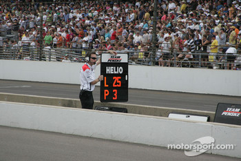 Helio Castroneves pit board