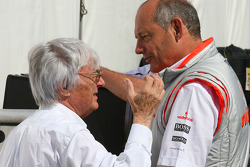 Bernie Ecclestone, President and CEO of Formula One Management and Ron Dennis, McLaren, Team Principal, Chairman