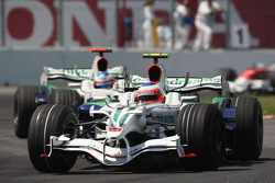 Rubens Barrichello, Honda Racing F1 Team, RA108 leads Jenson Button, Honda Racing F1 Team, RA108
