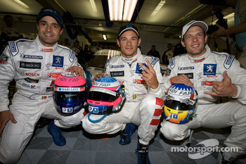 Pole winner Stéphane Sarrazin celebrates with teammates Pedro Lamy and Alexander Wurz