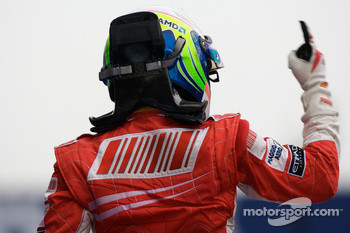 Race winner Felipe Massa celebrates