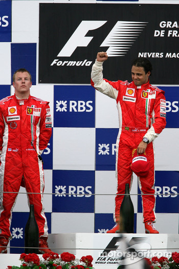 Podium: race winner Felipe Massa with Kimi Raikkonen