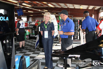 Mrs. McCain gets a tour of the garage area