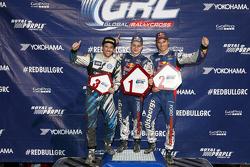 Podium: winner Joni Wiman, Olsbergs MSE Ford, second place Scott Speed, Andretti Autosport Volkswagen, third place Sebastian Eriksson, Olsbergs MSE Ford
