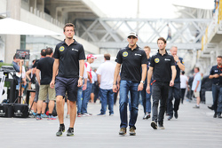 (L to R): Jolyon Palmer, Lotus F1 Team Test and Reserve Driver with Pastor Maldonado, Lotus F1 Team