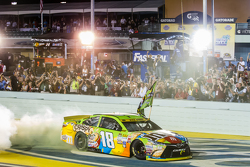 Race winner and 2015 NASCAR Sprint Cup series champion Kyle Busch, Joe Gibbs Racing Toyota celebrates