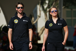 Romain Grosjean, Lotus F1 Team with Aurelie Donzelot, Lotus F1 Team Media Communications Manager