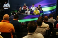 Formula 1 Photos - The FIA Press Conference, Ferrari Team Principal; Toto Wolff, Mercedes AMG F1 Shareholder and Executive Director; Christian Horner, Red Bull Racing Team Principal; Federico Gastaldi, Lotus F1 Team Deputy Team Principal; Claire Williams, Williams Deputy Team Principal; Cyril Abiteboul, Renault Sport F1 Managing Director