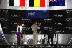 Race 1 Podium: second place Raffaele Marciello, Trident and winner Stoffel Vandoorne, ART Grand Prix and third place Mitch Evans, RUSSIAN TIME