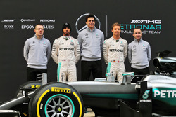 The Mercedes AMG F1 W07 Hybrid unveiling (L to R): Andy Cowell, Mercedes-Benz High Performance Powertrains Managing Director, Lewis Hamilton, Mercedes AMG F1, Toto Wolff, Mercedes AMG F1 Shareholder and Executive Director, Nico Rosberg, Mercedes AMG F1; Pa
