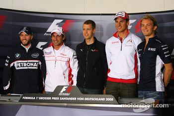 FIA press conference: Nick Heidfeld, BMW Sauber F1 Team, Timo Glock, Toyota F1 Team, Sebastian Vettel, Scuderia Toro Rosso, Adrian Sutil, Force India F1 Team and Nico Rosberg, WilliamsF1 Team, group picture