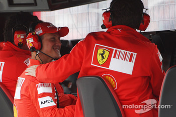 Michael Schumacher, Test Driver, Scuderia Ferrari and Stefano Domenicali, Scuderia Ferrari, Sporting Director