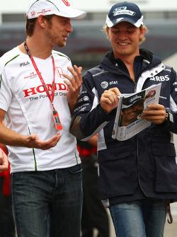 Jenson Button, Honda Racing F1 Team and Nico Rosberg, WilliamsF1 Team