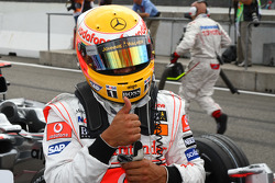 Pole winner Lewis Hamilton
