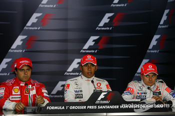 Press conference: pole winner Lewis Hamilton with Felipe Massa and Heikki Kovalainen