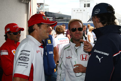 Giancarlo Fisichella, Force India F1 Team, Rubens Barrichello, Honda Racing F1 Team and Rubens Barrichello, Honda Racing F1 Team