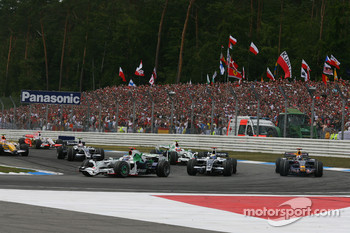 Jenson Button, Honda Racing F1 Team, RA108 leads Nico Rosberg