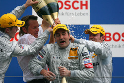Podium: race winner Bernd Schneider gets a champagne shower from Paul di Resta, Jamie Green and Hans-Jürgen Mattheis