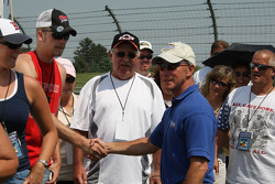 Indiana Governor, Mitch Daniels, shakes hands with race fans