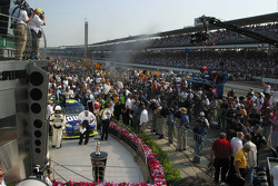 Victory circle: race winner Jimmie Johnson