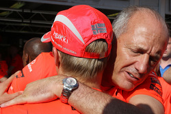 Heikki Kovalainen celebrates his first win with Ron Dennis and McLaren Mercedes team