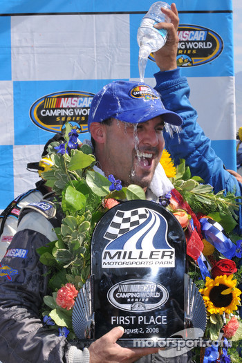 Victory lane: race winner Todd Souza celebrates
