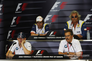 FIA press conference: Fernando Alonso, Renault F1 Team, Flavio Briatore, Renault F1 Team, Team Chief, Managing Director, Robert Kubica,  BMW Sauber F1 Team and Dr. Mario Theissen, BMW Sauber F1 Team, BMW Motorsport Director