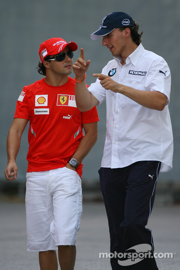 Felipe Massa, Scuderia Ferrari and Robert Kubica,  BMW Sauber F1 Team