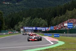 Lewis Hamilton, McLaren Mercedes, MP4-23 leads at the start