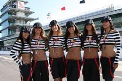 The lovely Red Bull Indianapolis GP grid girls pose in front of the historical Pagoda
