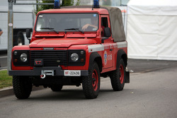 Land Rover Defender fire worker car