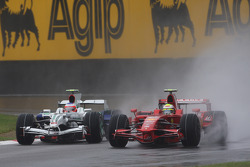 Rubens Barrichello, Honda Racing F1 Team, RA108 and Felipe Massa, Scuderia Ferrari, F2008
