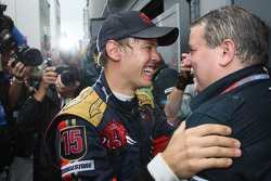 Pole winner Sebastian Vettel celebrates with his team