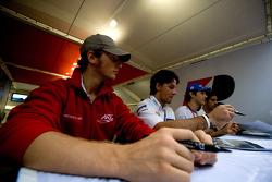 Romain Grosjean, Giorgio Pantano, Bruno Senna and Lucas di Grassi