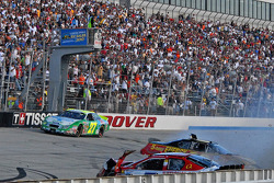 Steve Wallace and Landon Cassill crash