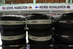 The tyres of Lewis Hamilton, McLaren Mercedes and Heikki Kovalainen, McLaren Mercedes