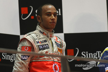 Podium: third place Lewis Hamilton