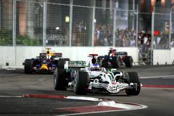 Jenson Button, Honda Racing F1 Team, RA108 leads David Coulthard, Red Bull Racing, RB4