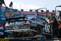 A new Jack Daniel's Chevy is brought out of the hauler after the crash of Clint Bowyer