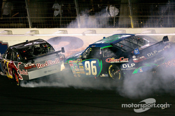 Mike Skinner and Ken Schrader get together in the early stages of the race