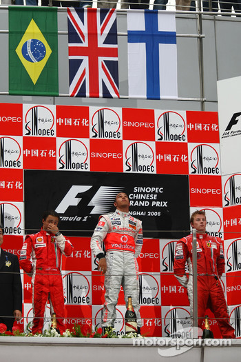 Podium: race winner Lewis Hamilton, second place Felipe Massa, third place Kimi Raikkonen
