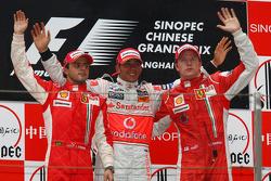 Podium: race winner Lewis Hamilton, second place Felipe Massa, third place Kimi Raikkonen