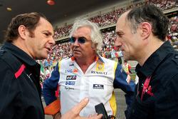 Gerhard Berger, team principal Flavio Briatore and team principal Franz Tost