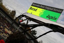Pitboard sign of Bernd Schneider, Team HWA AMG Mercedes, AMG Mercedes C-Klasse