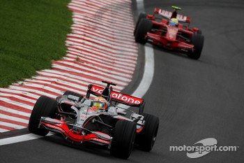 Lewis Hamilton, McLaren Mercedes, MP4-23 and Felipe Massa, Scuderia Ferrari, F2008