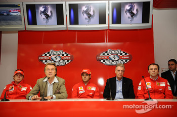 Press conference: Kimi Raikkonen, Luca di Montezemolo, Felipe Massa,Stefano Domenicali and Piero Ferrari