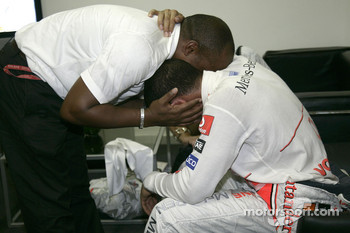 Emotional celebrations for Lewis Hamilton and his father Anthony