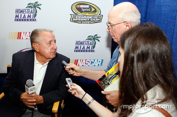 Rex White, the 1960 NASCAR Sprint Cup Series champion, speaks with the media after the 2008 Championship Contenders Press Conference